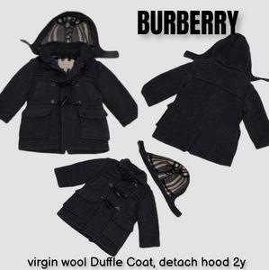BURBERRY virgin wool Duffle Coat, detach hood 2y